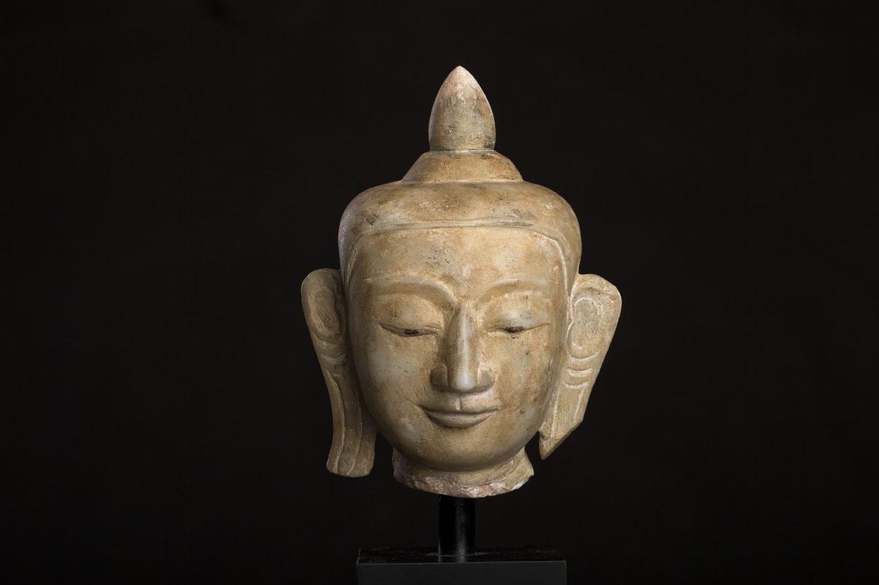 KT 22 antik Shan Buddha hoved, Alabaster, Antique Buddha head, www.unikantik.dk www.zenantique.com